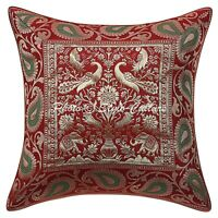 Indian Brocade Cushions Maroon 16 x 16 Inch Jacquard Peacock Pillow Covers