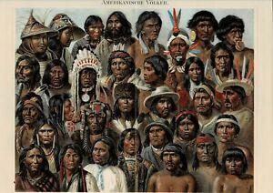 Farbtafel VÖLKERUNDE AMERIKA / INDIANER / KREOLEN Original-Lithographie 1885