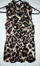 IZ Byer Sz S Juniors Frill Neck Leopard Print Sleeveless Blouse~Satin/SilkyTop