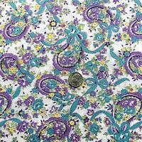 "Vintage Partial Feed Sack Aqua & Purple Paisely w/Beautiful Bows  21""x18"""