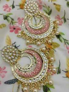 Indian 22K Gold Plated Pakistani Kundan Earring Wedding Pink Meena Jewelry