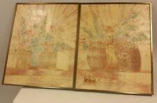 2 Lee Reynolds Textured Oil Paintings Floral Flowers Baskets Art Southwestern