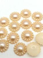 Hot 100PCS Half Pearl Bead flower 8MM DIY Scrapbook for Craft Flatback Orange T