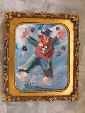 1990 MORRIS KATZ CLOWN SIGNED 1931-2010 ORNATE GOLD FRAME WORLDS FASTEST PAINTER