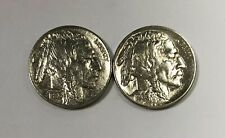 1936 P & 1936 S Buffalo Nickel About Uncirculated UNC 2 Coin Set