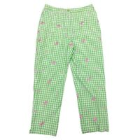 Lilly Pulitzer Green Plaid Butterfly Flower Cropped Pants Womens Sz 2
