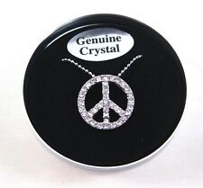 "Genuine Crystal Peace Sign 16"" Necklace in Beautiful Tin Box with $24.99 Tags"