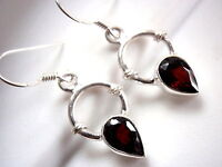 Faceted Garnet Earrings 925 Sterling Silver Dangle with Rope Style Accents New