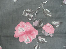 100% Linen Fabric By the Yard Gray with Pink Flowers Print