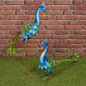 Colourful Peacock Metal Birds Garden Ornament Sculpture Friendly Features Decor