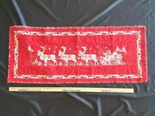 VTG. Woven CHRISTMAS Table Runner Cloth SANTA & SLEIGH 40 X 16  Made In Austria