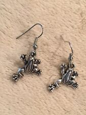 Cute Sterling Silver Ear Wire / Tibetan Frog Dangle Drop Earrings