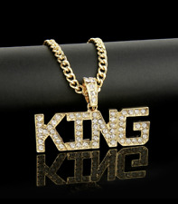 Fashion Jewelry Gold Plated KING Bling Rhinestone Hip Hop Pendant Necklace 81-6
