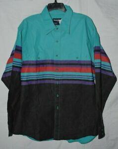Vintage WRANGLER stripped Shirt 17 1/2 ~ 38 - large extra large Cowboy