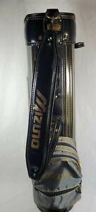 Mizuno 14 Slot Golf Bag Vintage Black Gray Gold Cart Stand Pre-owned