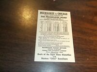 APRIL 1962 MILWAUKEE ROAD CHICAGO-MILWAUKEE PUBLIC TIMETABLE CARD