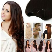 One Piece Weft Hair Wrap Flip In Halo Hair No Clips Remy Human Hair Extensions