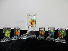 Vintage Set of 6 Boot Shoe Shaped Shot Glasses & Decanter Italy Fruit Mod Dep
