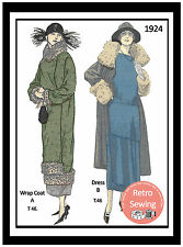 1920s Dress & Coat Sewing Pattern - Full Size Sewing Pattern - Flapper - Downton
