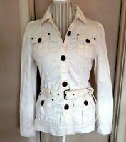 Vintage 90s Nautica Khaki Cream Belted Denim Utility Jean Jacket Womens Sz 8/M