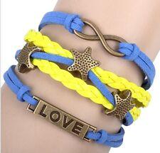 NEW Hot Pentagram Anchor Leather Cute Charm Bracelet Bronze Love  DIY SL177F