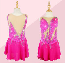 Ice Figure Skating Dresses Custom Women Competition Skating Dress Girls Pink