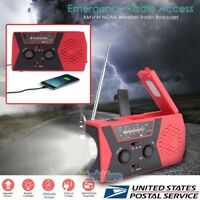 Emergency Radio Dynamo Solar Hand Crank AM/FM/SW Radio Music Phone Charger RED