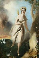 FAIRY DANCING IN FLORAL LANDSCAPE - ANTIQUE BEAUTIFUL OIL PAINTING (c. 1850)