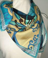 Classic Large Vera Bradley Silk Scarf 26 Inches Blue Black Green Paisley