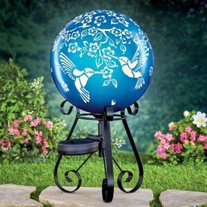 Solar Powered Blue Hummingbird Garden Gazing Ball Globe w/ Metal Scroll Stand