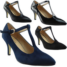 Womens Ladies T-Bar Mid Kitten Heel Casual Office Work Pointed Toe Shoes Size