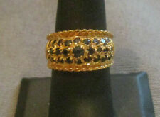 925 Silver (Sterling) Vermeil Ring 3 Rows by WW Black Larger Center Stone Size 8