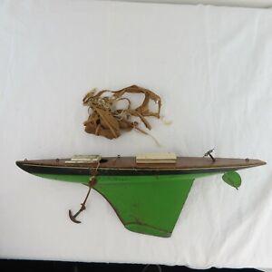 "ANTIQUE 1930 Keystone Factory Wood Pond Yacht Boat Hull Sailboat 23"" Metal keel"