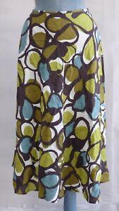 Hobbs 33 Circles Bias Skirt Midi 100% Linen Giant Scribble Flaring size UK 12