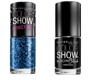 Maybelline New York Nail Polish 2 Pack Nighttime Noise Top Coat & Patent Black