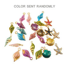 18pcs Mixed Colorful Assorted Alloy Enamel Shell Seastar Pendants Charms Crafts