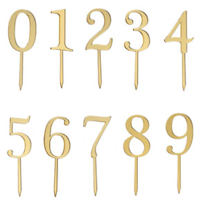Gold Number Cake Topper Birthday Anniversary | Any Number 1 - 100 | UK Seller