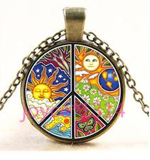 Glass Chain Pendant Necklace Ts-3406 Vintage peace symbol Cabochon bronze