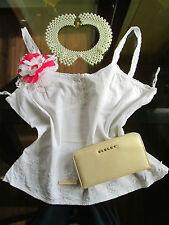 BIAGGINI Womens Vtg Look Fashion White Crochet Lace Embellish Top sz 18 XXL AW91