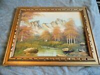 "Org Landscape Oil Painting by artist R. White(Robert)? Framed/Signed 12"" x 16"""