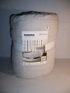 Sonoma Goods For Life Cotton Linen Quilt Vintage Wash Stone Color King Size NEW