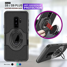 For Samsung Galaxy S9 S9 Plus Leather Case Stand Holder Cover Shock Proof