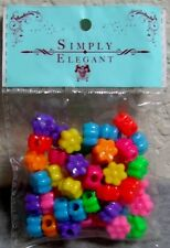 Package of Multicolored Flower Pony Beads for Beading & Crafts - 48 pcs