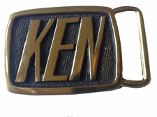 Vtg Solid Brass Ken Name Belt Buckle Men's Gift Idea Funny K Initial Letter 70s