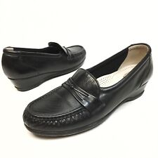 ✅❤️✅$ SAS Easier Women's Slip On Comfort Shoes Black Leather Loafers 7.5 N Wedge