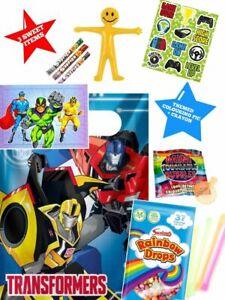 Transformers party bags pre filled, boys ,girls, toys and sweets ,fast post.