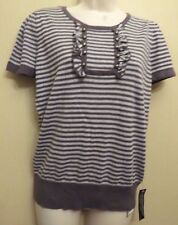 Betty Jackson Black UK14 EU42 US10 new grey stripe short-sleeve cotton jumper