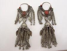 Vintage Dramatic Afghan Silver Earrings