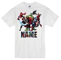 Marvel Superheroes Personalised T-shirts Hulk, Thor, Captain America, Spiderman