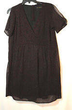 BLACK RED STARS LADIES CASUAL DRESS TUNIC SIZE M ZARA PARTY V-NECK